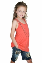 "Hannah Banana ""Stud the Sky"" 2pc Tween Chain Tunic & Denim Bermuda Shorts  sz 14"