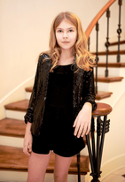 Hannah Banana Tween Balck Sequin Girls Shrug Blazer