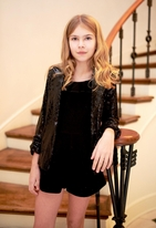 Hannah Banana Tween Balck Sequin Girls Shrug Blazer 14 16