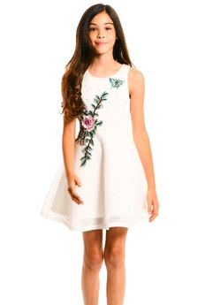 Hannah Banana Pearls & Papillon Embroidered Ivory Girls Dress 7 Last 1