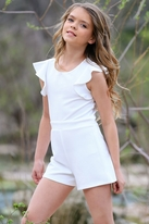 Hannah Banana Ivory Girls Diamond Cut-Out Party Romper *Top Seller*