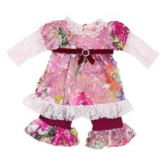 "Haute Baby  ""Autumn Garden"" Exquisite 2pc Baby Outfit  6/9 12m"