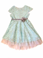 "Purrfect by Haute Baby ""Elsa's Magic"" Blue & Silver Girls Dress  10"