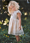 Haute Baby Peach Blush Eyelet Lace Little Girls Easter Dress