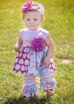 """Haute Baby """"Simply Sweet"""" 2pc Infant Bbay Girl Tunic Set 24m"""