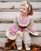 Haute Baby Tres Jolie 2pc Vintage Look Dress & Lace Leggings 3T
