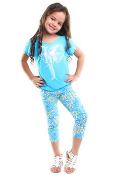 "Haven Girl ""Beach Glass"" Elephant Wearing Glasses 2pc Capris Set  4"