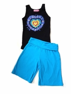Haven Girl Beautiful 2pc Sequin Heart Tee &  Shorts Set sz 4
