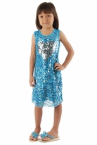 Haven Girl Blue Sequined Silver Haert Tank Dress sz L(14)