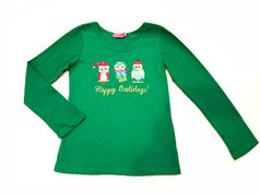 """Haven Girl Green Christmas """"Happy Holidays"""" L/S Girls Top 4 5 6X 10/12"""