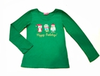 "Haven Girl Green Christmas ""Happy Holidays"" L/S Girls Top 4 5 6X 10/12"