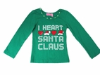 "Haven Girl Green & Red ""I Love Santa"" Christmas L//S Tee 2T 3T"