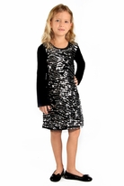 Haven Girl Long Sleeves Black & Silver Sequined Front Holiday Dress SZ 14