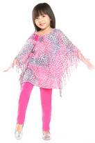 Haven Girl Poncho Fringe Tunic & Hot Pink leggings Set  4 Top Seller*