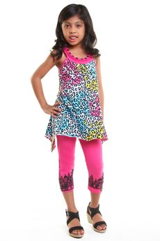 "Haven Girl ""Rainbow Fiesta"" 2pc Tunic & Pink Architectural Capris Set  4 Last 1"