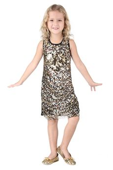 Haven Girl Shimmery Gold Sequined Heart Party Dress sz 14