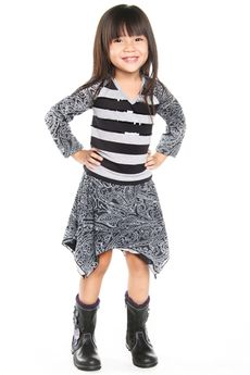 "Haven Girl ""Street Style"" 2pc Striped Pullover Top & Hi-Low Skirt *Top Seller* 7/8 14"