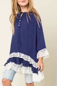 Hayden Los Angeles Navy & Ivory Lace Tween L/S Tunic 7/8