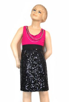 Hollyworld Stunning Fuschia & Black Sequined Dess w/Chain Necklace 8 14