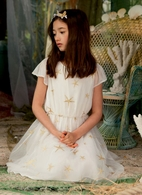 I Love Gorgeous Ivory Girls Dress w/Gold Star Fish Print 6/7