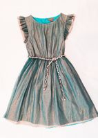 I Love Gorgeous Teal & Gold Girls Holiday Dress 8/9 Last 1