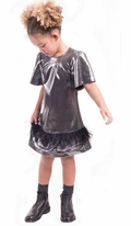 Imoga Shiny Black Kamryn Dress w/Feathers Short Sleeves 8 10 12