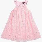 Imoga Pink & Gold Sparkle Dots Tulle A-Line Summer Dress 10