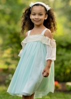 Isobella & Chloe Blue & Ivory Easter Wedding Girls Dress  6 7