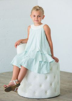 Isobella & Chloe Bluish Grey & Ivory Tiered Girls Easter Dress