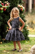 Isobella & Chloe Navy Drop Waist Dress w/Roses 8