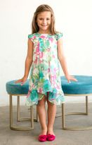 Isobella & Chloe Turquoise Pink Floral Summer Hi Lo Dress *Top Seller*