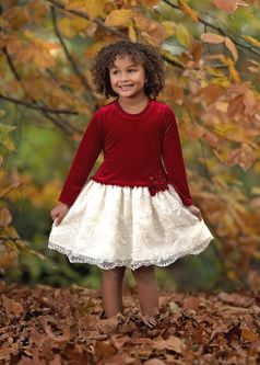 Isobella & Chloe Red & Ivory Long Sleeves Girls Dress *Top Seller*