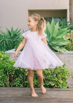 Isobella & Chloe Sprinkling Magic Pink Sequins & Tulle Girls Dress 2T 4 6X