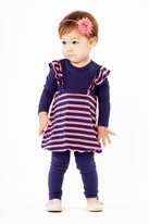 Joah Love 2pc Infant Girls Dress & Leggings Purple & Pink 18m
