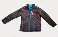 One Kid Charcoal & Blue Reversible Tween Thermo Jacket 10 LK 8