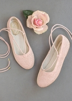 Joyfolie Blush Pink Lace Up Shoes Flats w/Clip 12 Last 1
