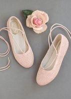Joyfolie Blush Pink Lace Up Shoes Flats 10 12 13 4Yth