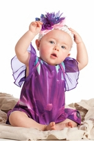 Kashka by KidCuteTure 2pc Purple Chiffon Sleeve Romper & Headband 24m