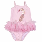 "Kate Mack 2pc ""Swan lake"" Pink Infant Swimsuit w/Tulle & Sequins 3m"