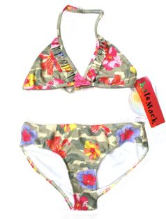 "Kate Mack 2pc ""Camo Flower"" Hawaiian Tween Girls Swimsuit  16"