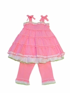 Kate Mack 2pc Pink & White Dots Baby Doll Ruffle Top & Capris 3T