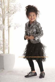 "Kate Mack ""Bow Bling"" Striking 2pc Silver Blazer & Tulle Skirt Set 7"