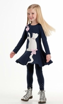 Kate Mack Navy Cat Applique Girls Ruffle Dress 3t