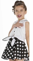 Kate Mack  Black & White Polka Dots Girls Swing Skirt Set  8