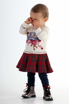 Kate Mack Red & Cream Plaid Crown Princess Girls Dress 12M 3t