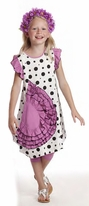 KidCuteTure Fun Little Girls Dress Lavender w/ Dots  3T 4