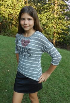 "Kiddo by Katie ""I Heart  Paris"" Striped tween Top 10 12"