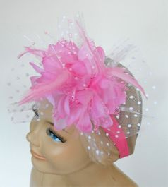 KIDS KAPERS Beautiful Large Pink Over The Top Bow band Feather & Tulle
