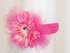 KIDS KAPERS Beautiful Tulle & Flower Headband w/Jewel Center