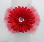 "KIDS KAPERS ""Funky Flowers"" Red Flower & Tulle Jewelled Headband"